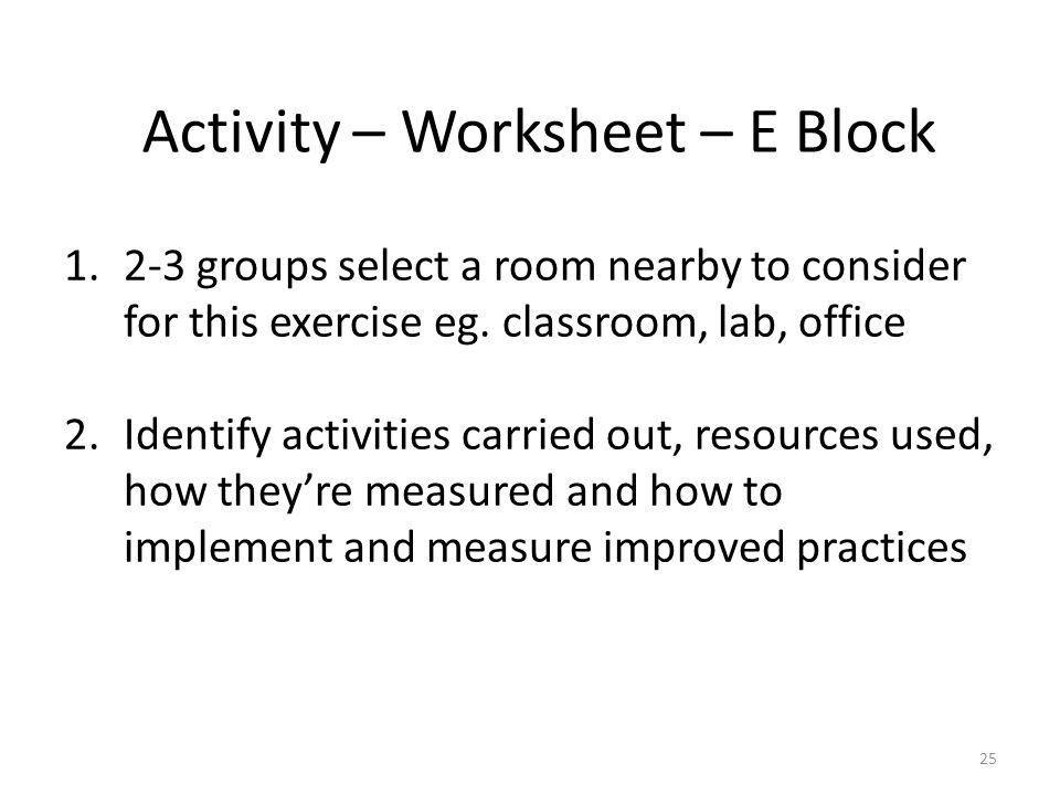 Activity – Worksheet – E Block