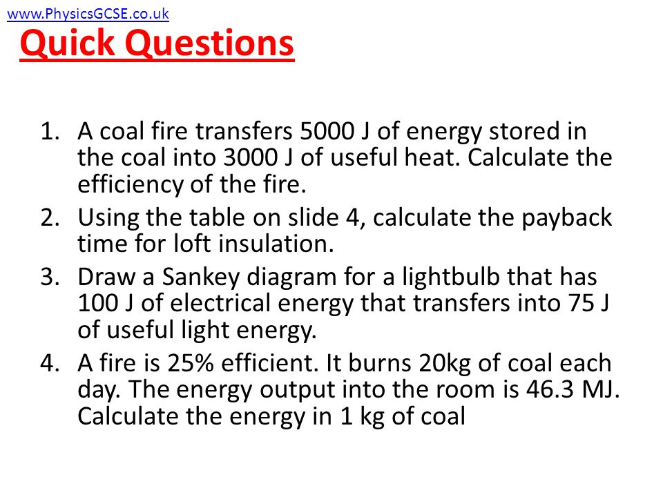 Quick Questions www.PhysicsGCSE.co.uk.