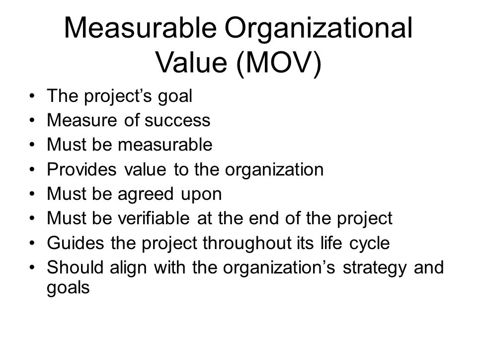 Measurable Organizational Value (MOV)
