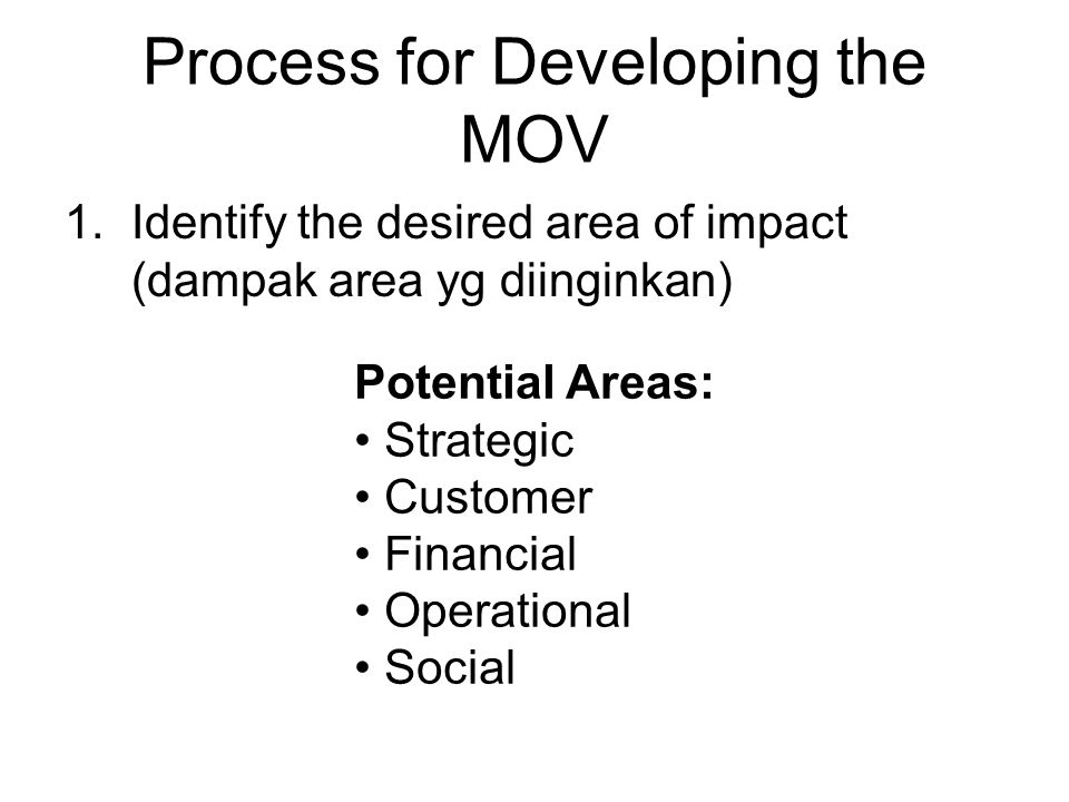 Process for Developing the MOV