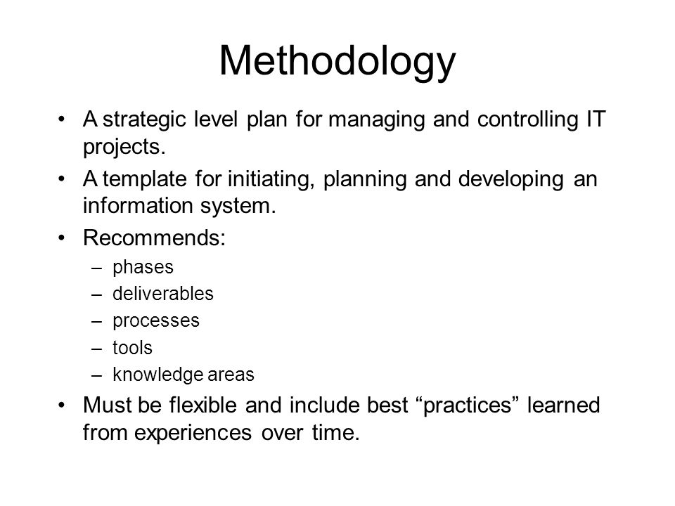 Methodology A strategic level plan for managing and controlling IT projects.