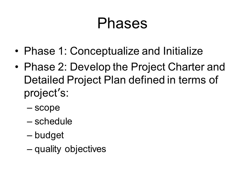 Phases Phase 1: Conceptualize and Initialize