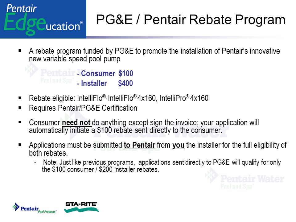 PG&E / Pentair Rebate Program