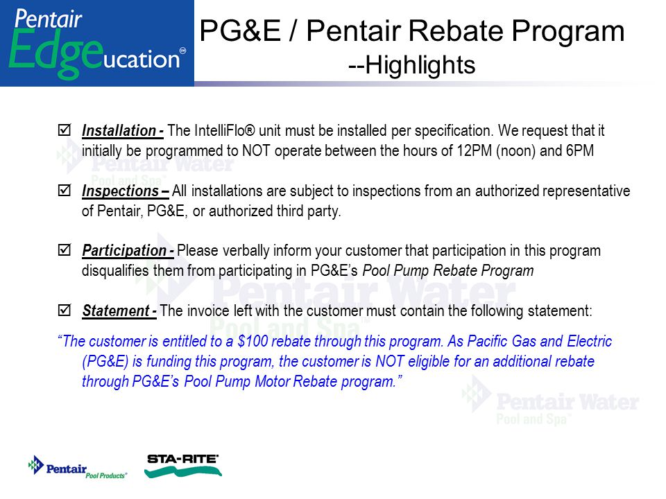 PG&E / Pentair Rebate Program --Highlights