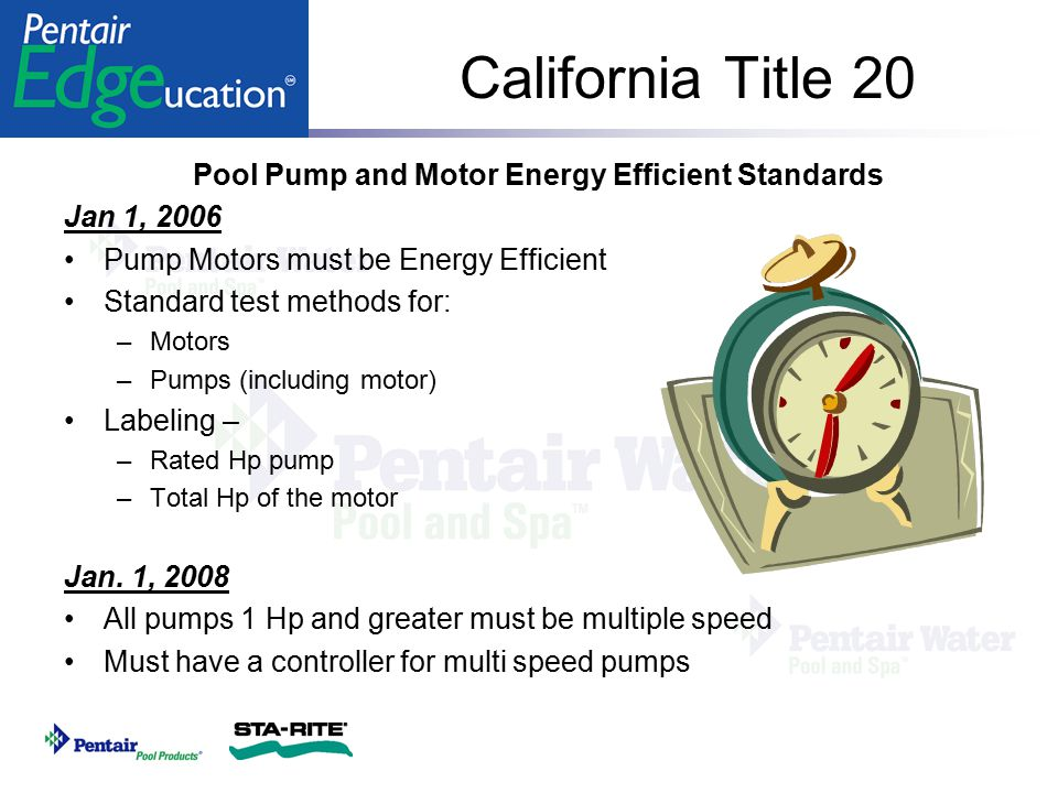 Pool Pump and Motor Energy Efficient Standards