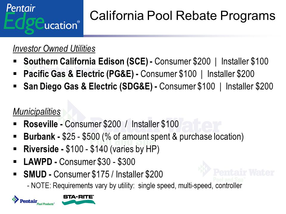 California Pool Rebate Programs