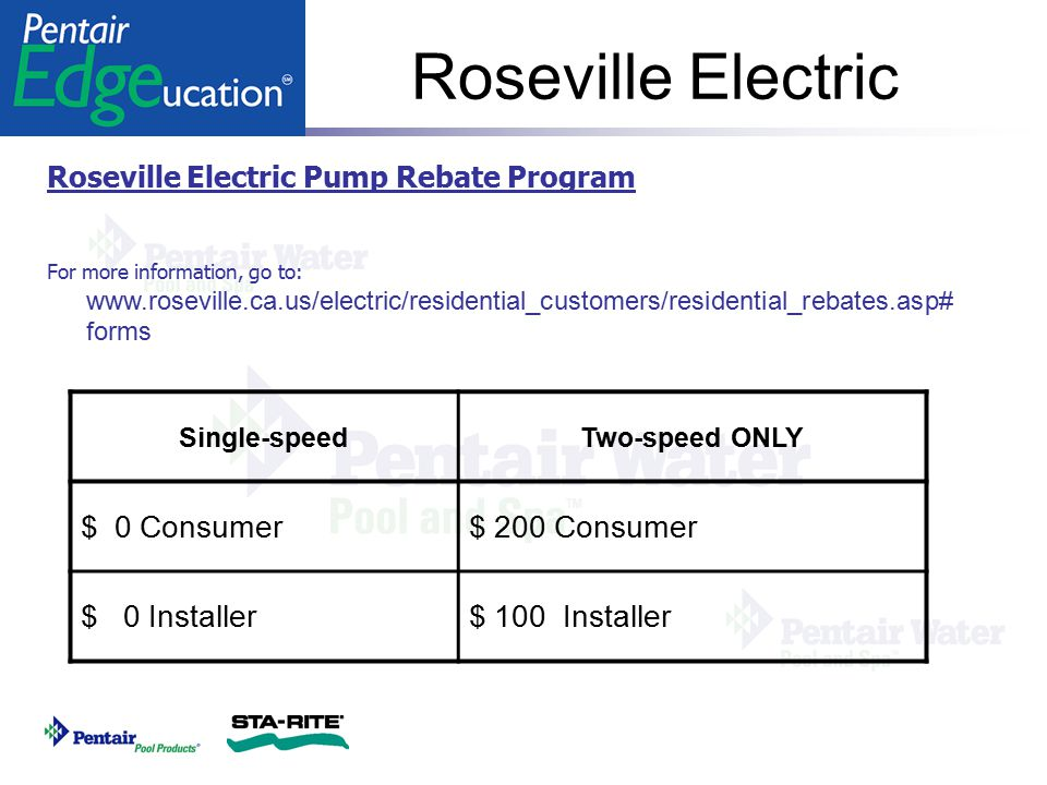 Roseville Electric $ 0 Consumer $ 200 Consumer $ 0 Installer