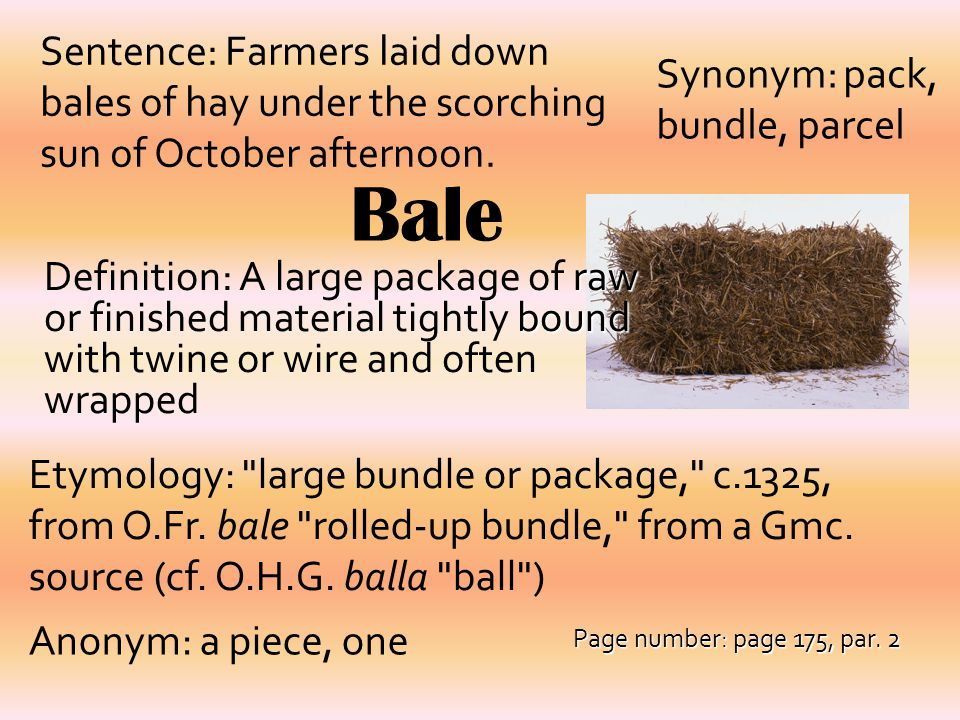 Sentence: Farmers laid down bales of hay under the scorching sun of October afternoon.