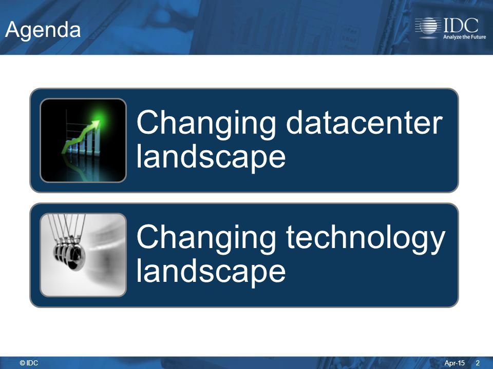 Agenda Changing datacenter landscape. Changing technology landscape.