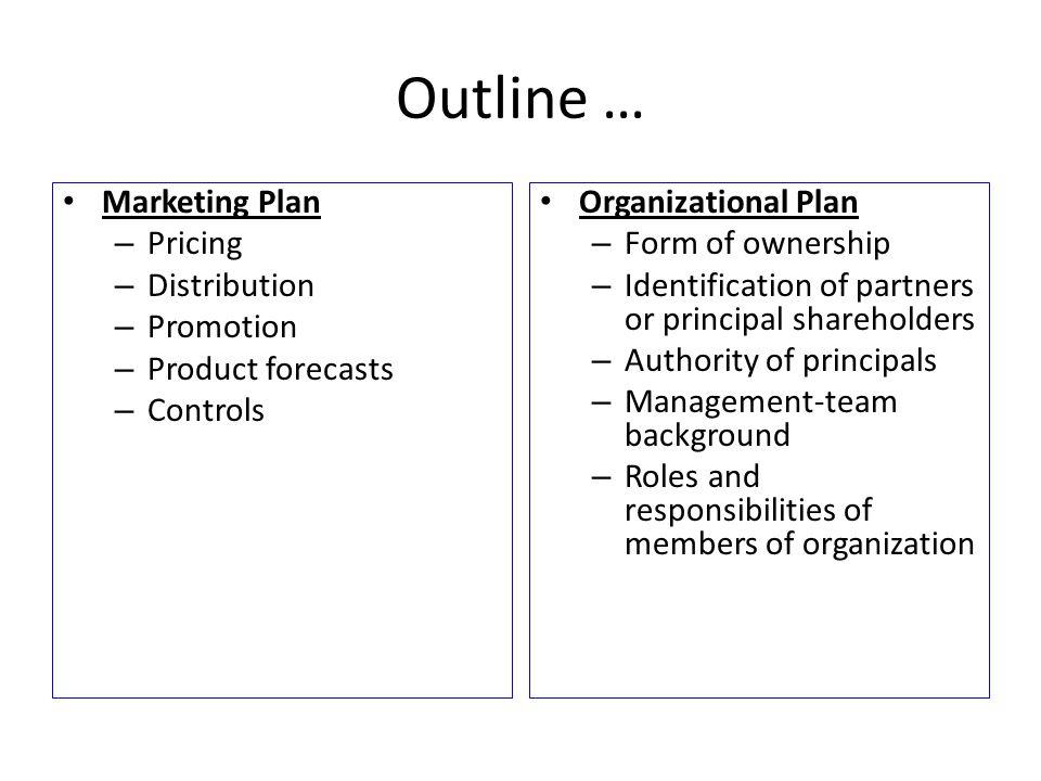 Outline … Marketing Plan Pricing Distribution Promotion