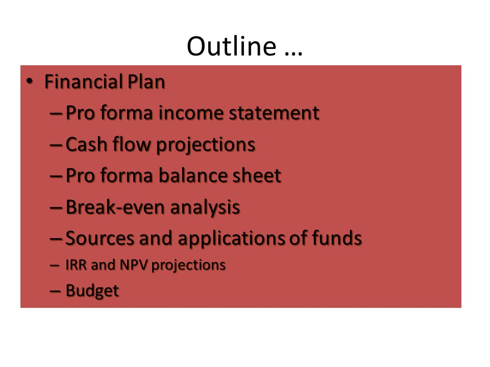 Outline … Financial Plan Pro forma income statement