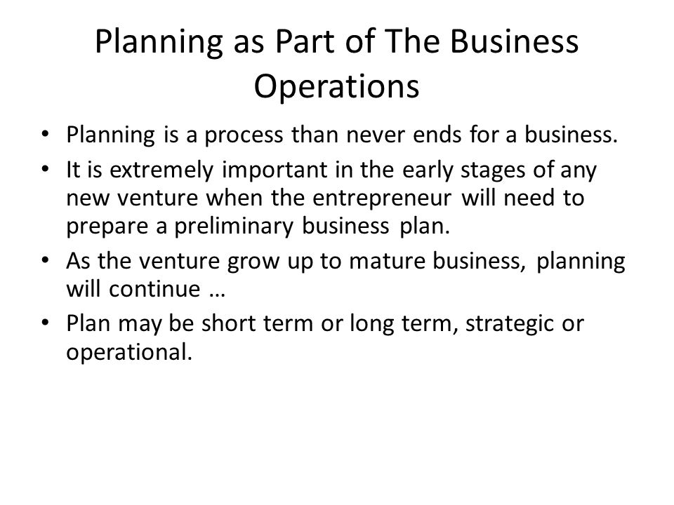 Planning as Part of The Business Operations
