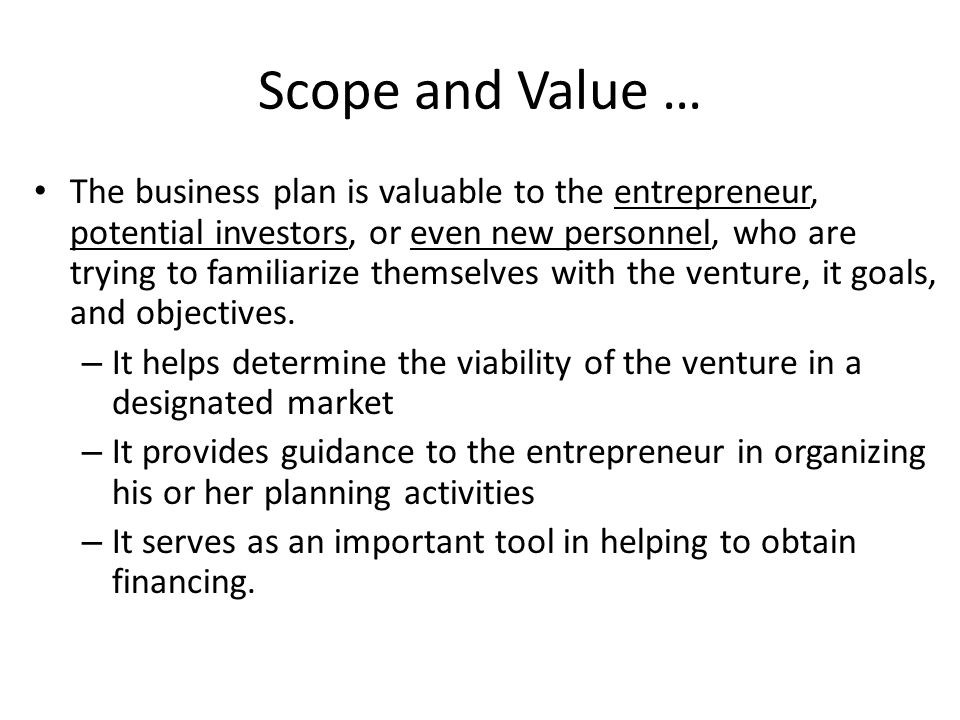 Scope and Value …