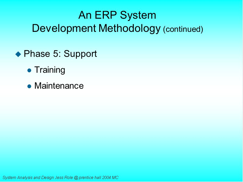 An ERP System Development Methodology (continued)