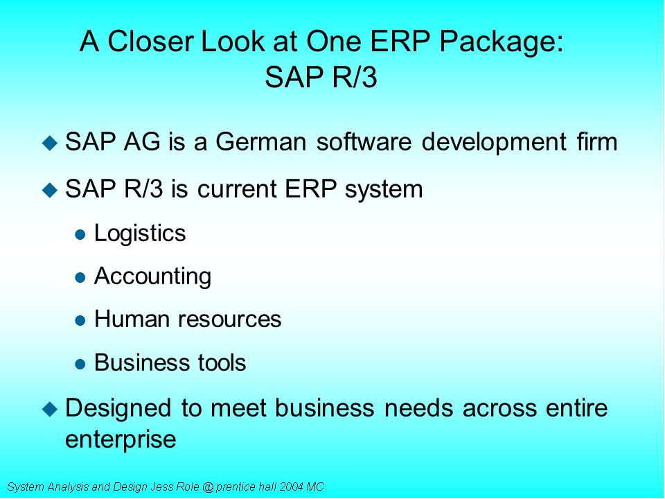 A Closer Look at One ERP Package: SAP R/3