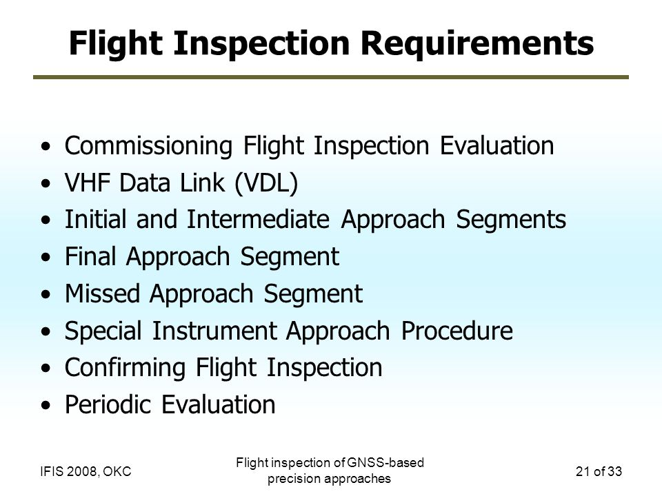 Flight Inspection Requirements