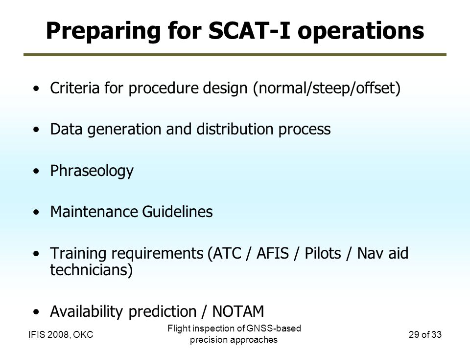 Preparing for SCAT-I operations