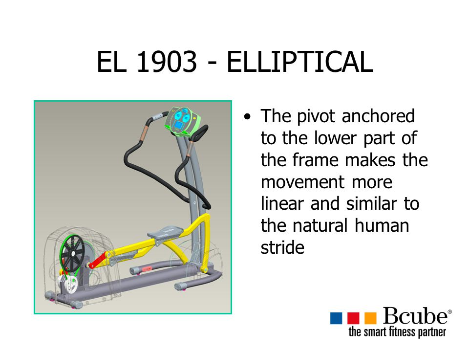 EL 1903 - ELLIPTICAL The pivot anchored to the lower part of the frame makes the movement more linear and similar to the natural human stride.