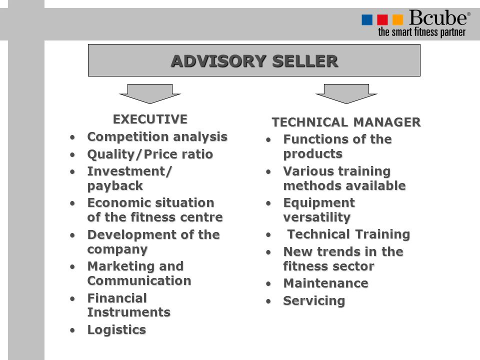 ADVISORY SELLER EXECUTIVE Competition analysis TECHNICAL MANAGER