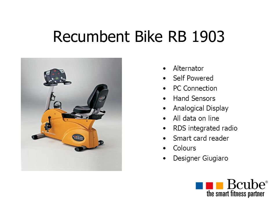 Recumbent Bike RB 1903 Alternator Self Powered PC Connection