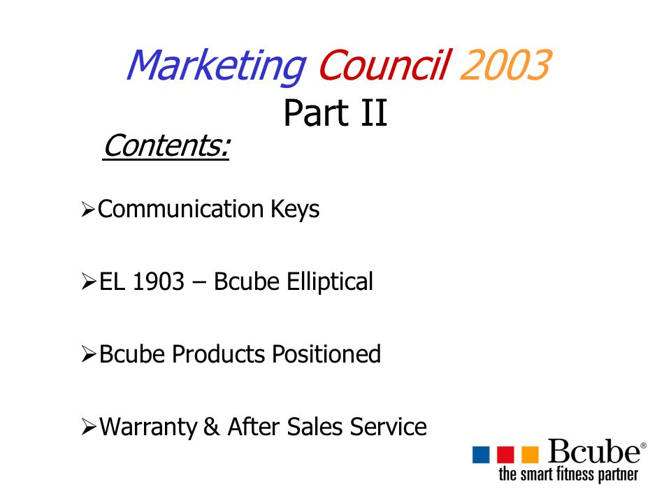 Marketing Council 2003 Part II