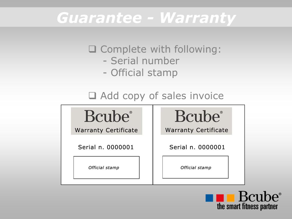Guarantee - Warranty Complete with following: - Serial number