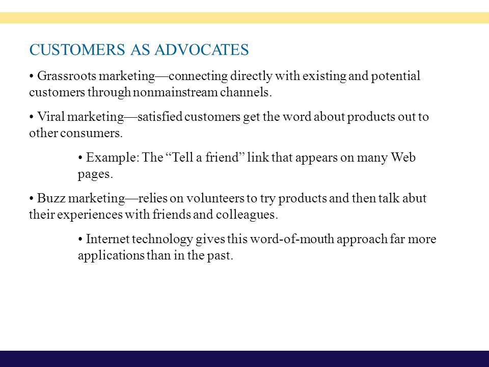 CUSTOMERS AS ADVOCATES
