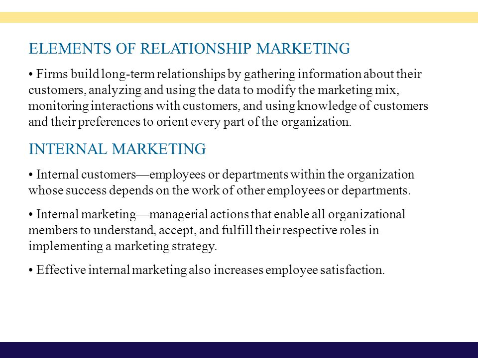 ELEMENTS OF RELATIONSHIP MARKETING