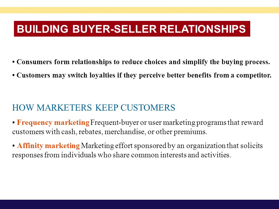 BUILDING BUYER-SELLER RELATIONSHIPS