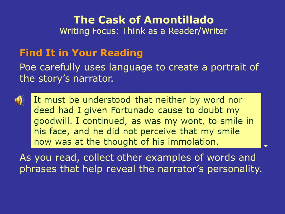 The Cask of Amontillado Writing Focus: Think as a Reader/Writer