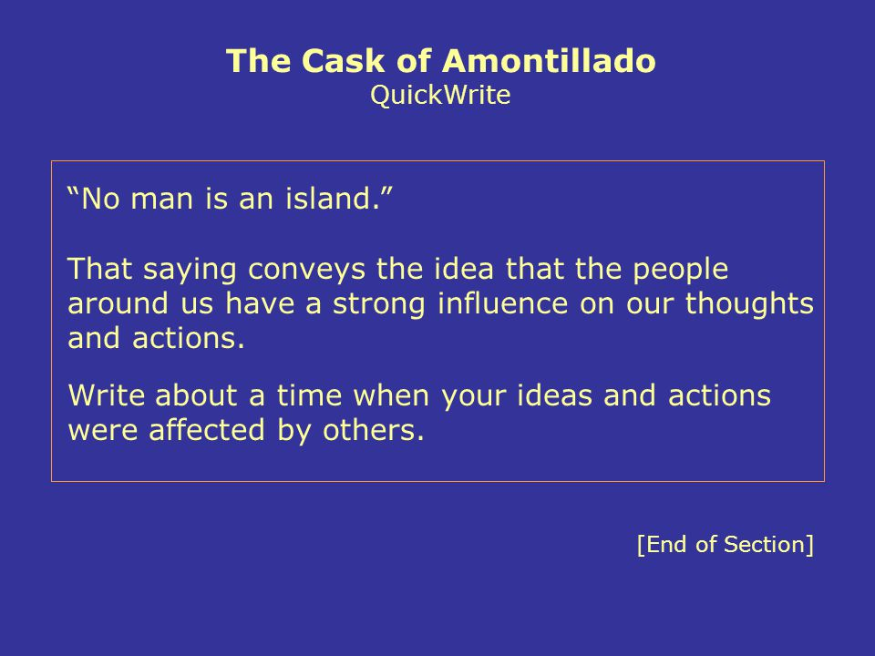 The Cask of Amontillado QuickWrite
