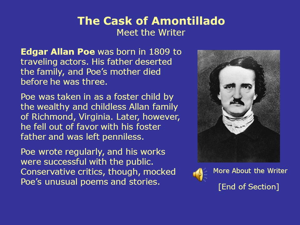 The Cask of Amontillado Meet the Writer