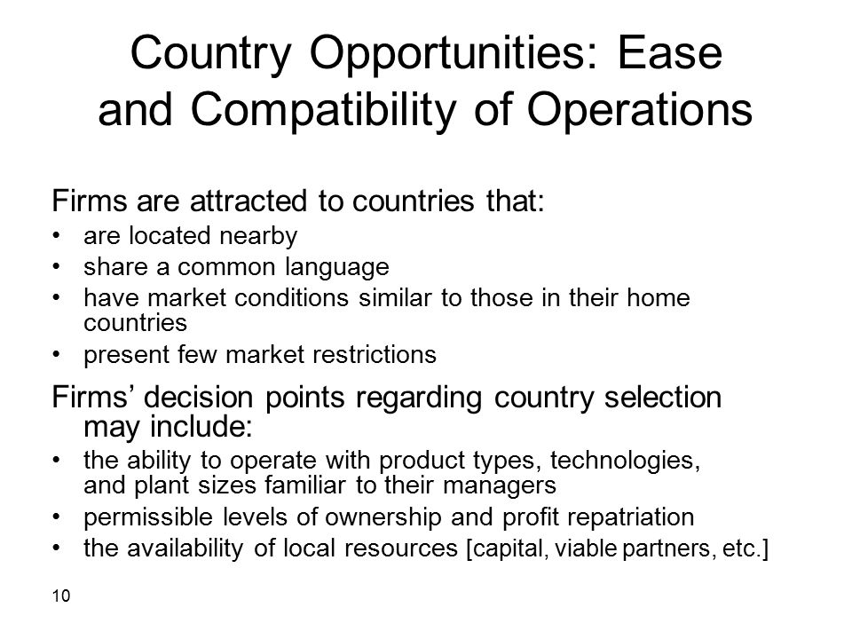 Country Opportunities: Ease and Compatibility of Operations