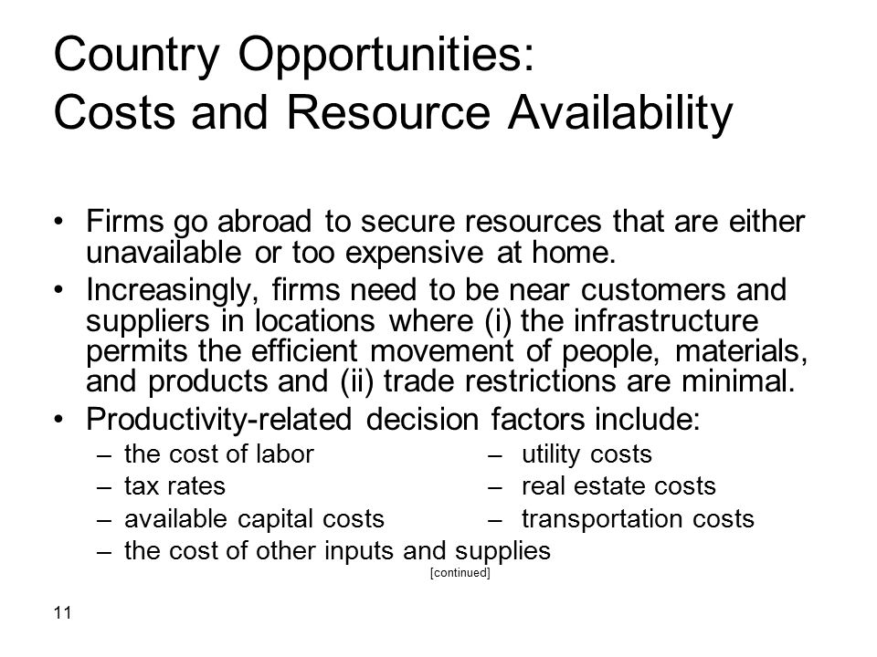 Country Opportunities: Costs and Resource Availability