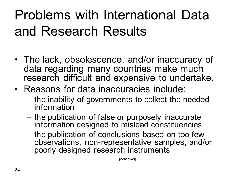 Problems with International Data and Research Results
