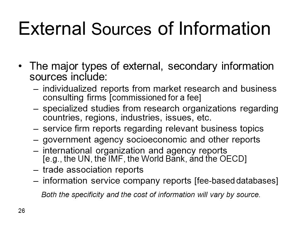 External Sources of Information