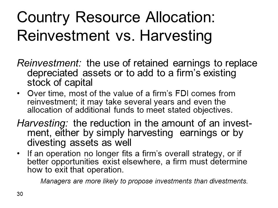 Country Resource Allocation: Reinvestment vs. Harvesting