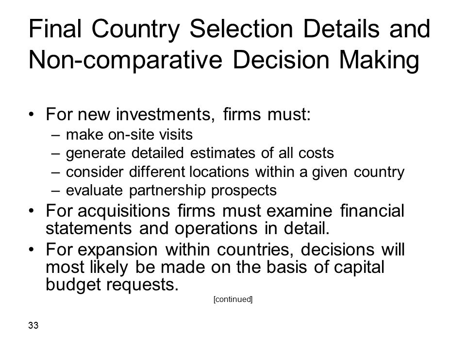 Final Country Selection Details and Non-comparative Decision Making