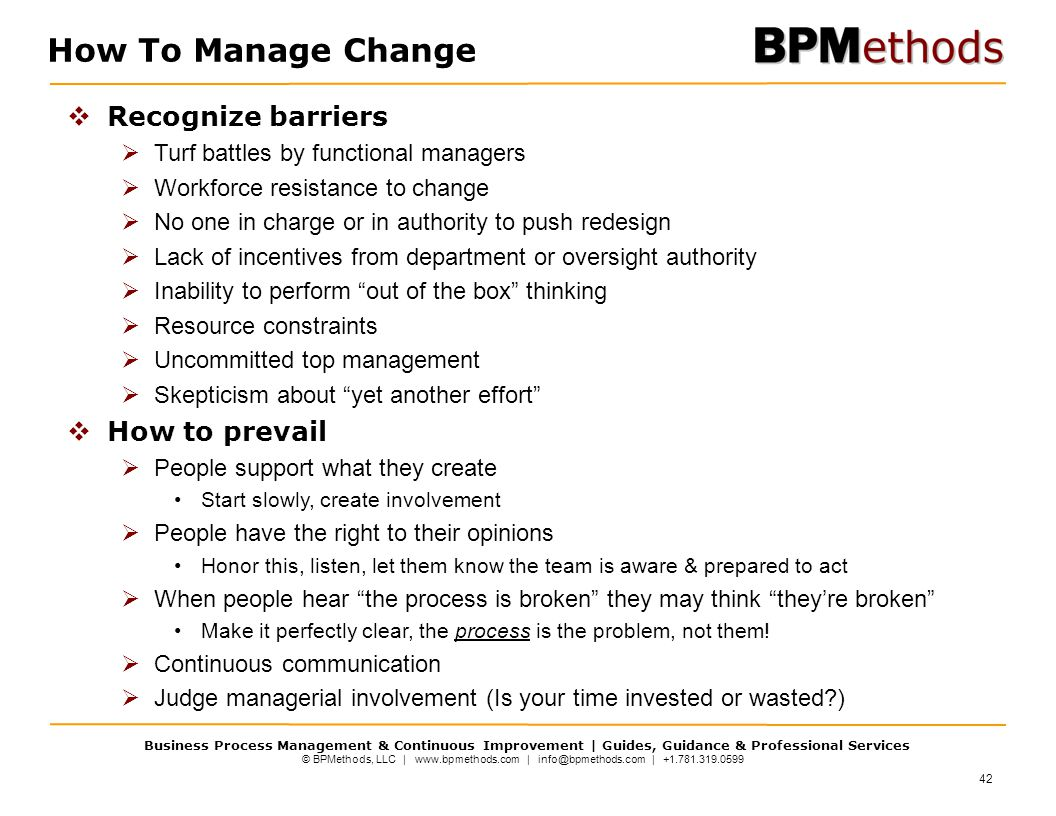 How To Manage Change Recognize barriers How to prevail