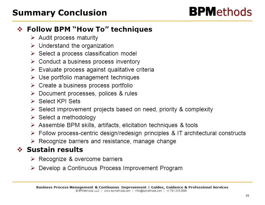 Summary Conclusion Follow BPM How To techniques Sustain results