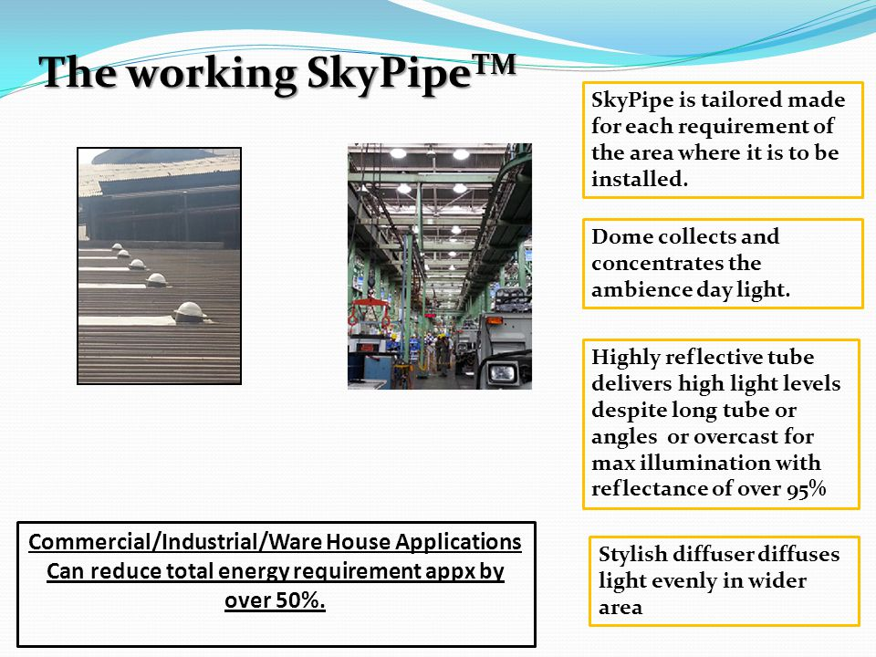 The working SkyPipeTM Commercial/Industrial/Ware House Applications