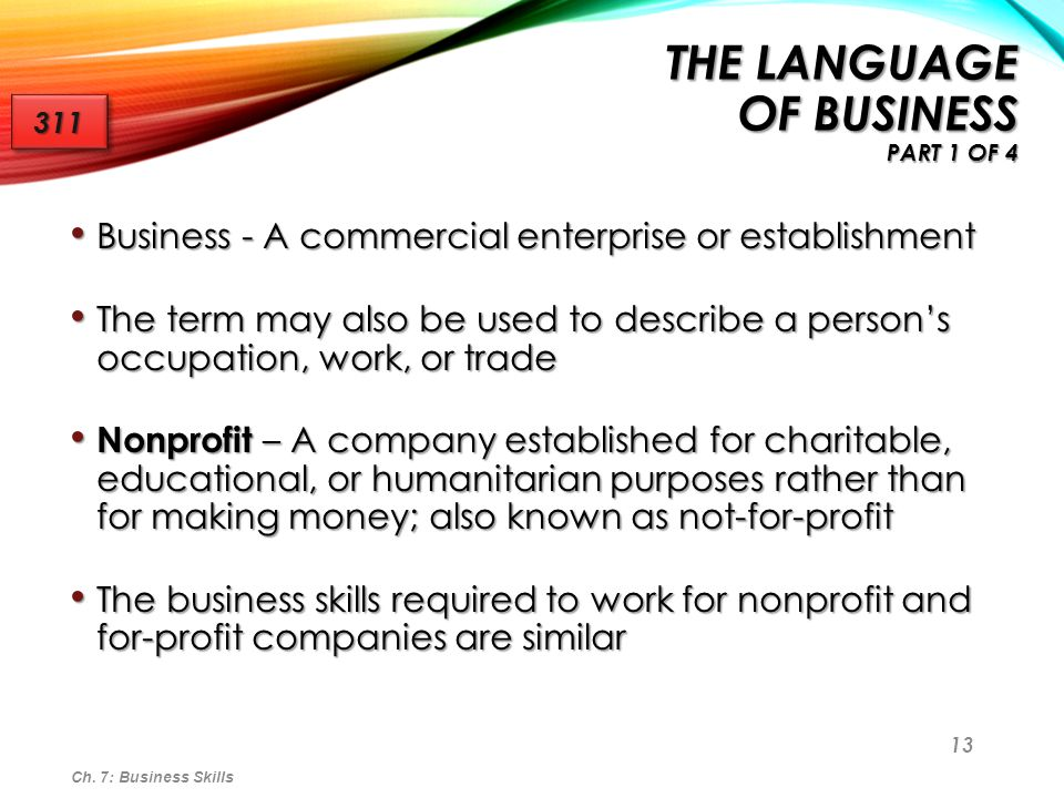 the Language of Business part 1 of 4