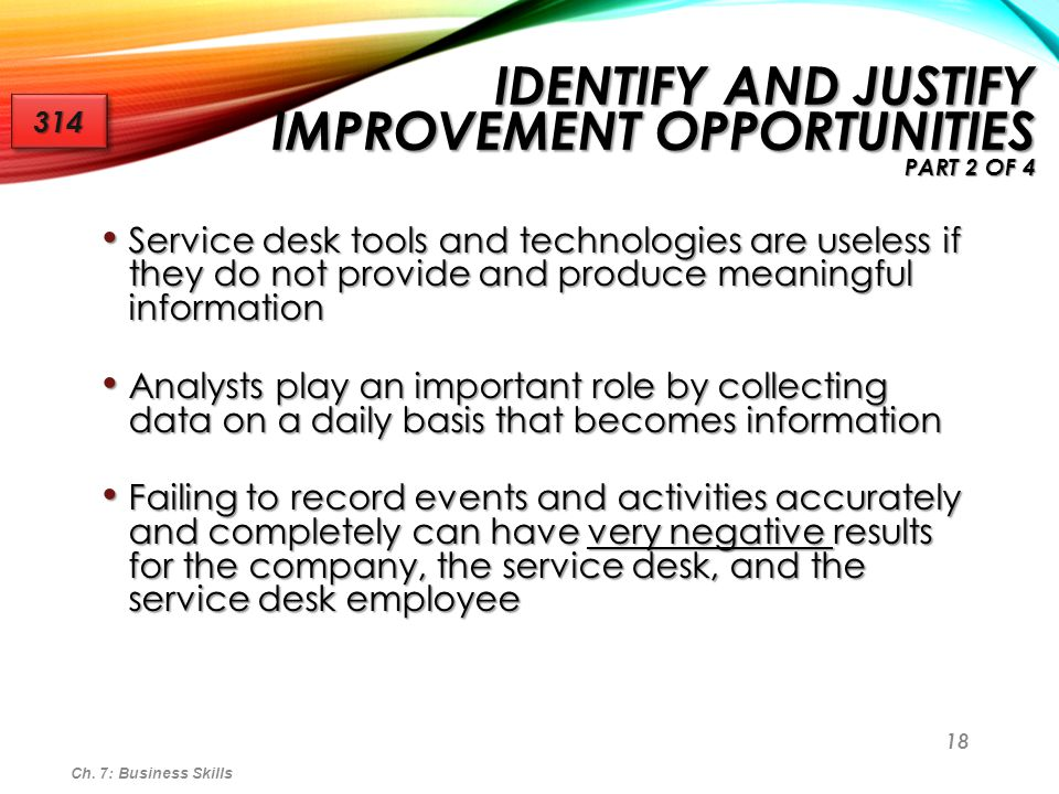 Identify and Justify Improvement Opportunities part 2 of 4