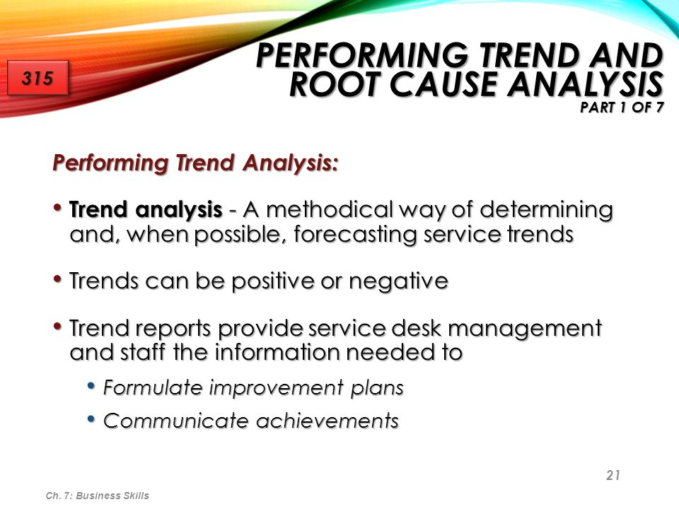 Performing Trend and Root Cause Analysis part 1 of 7