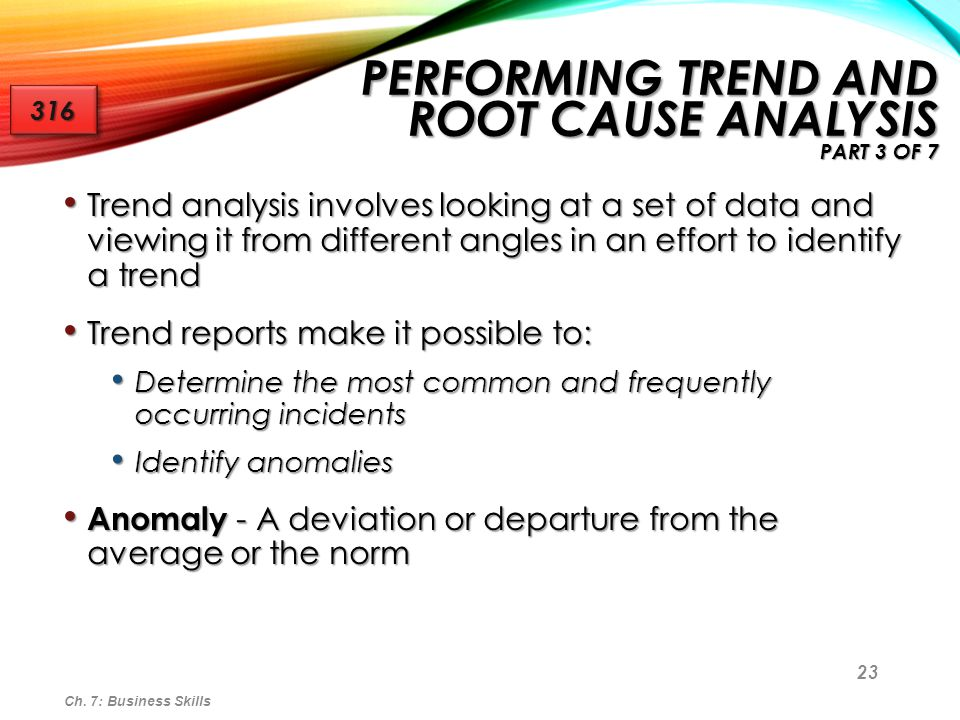 Performing Trend and Root Cause Analysis part 3 of 7