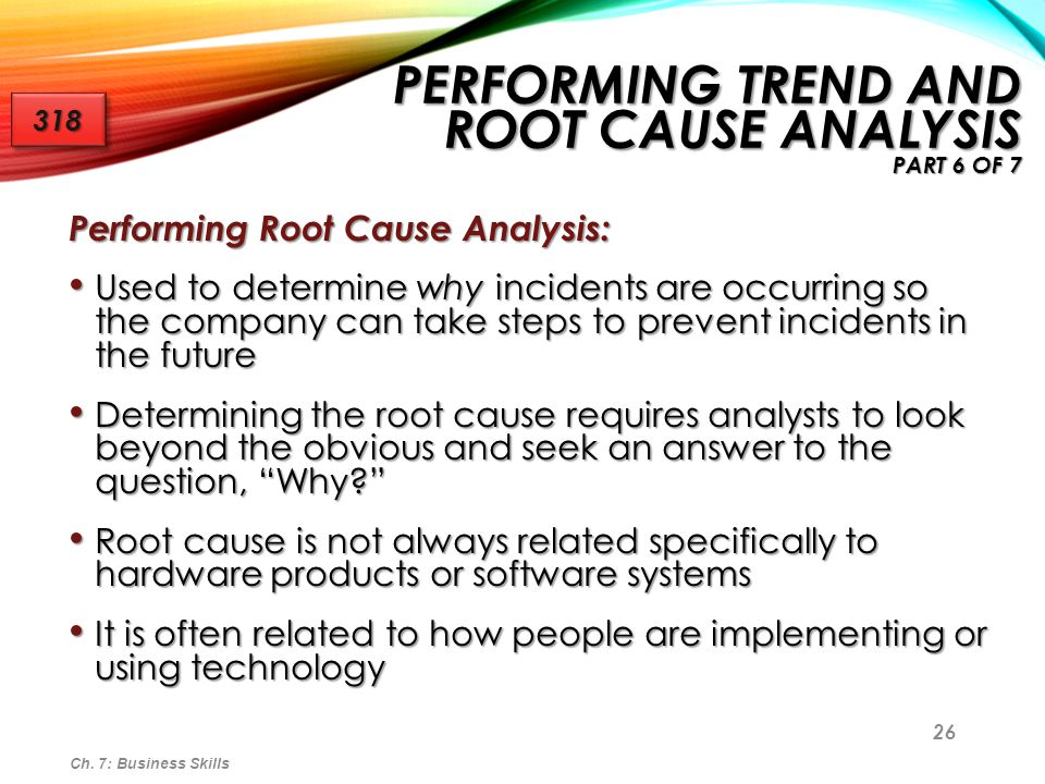 Performing Trend and Root Cause Analysis part 6 of 7