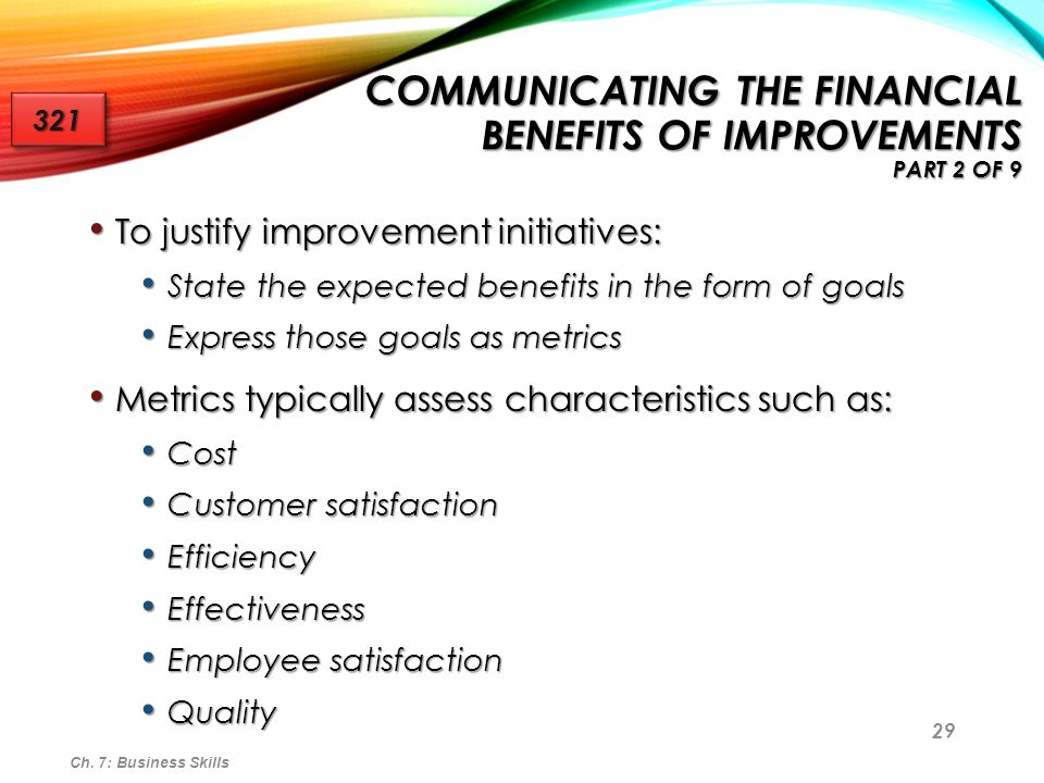 Communicating the Financial Benefits of Improvements Part 2 of 9