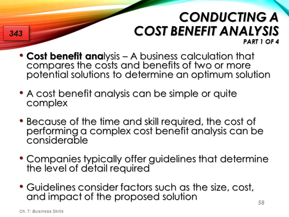 Conducting a Cost Benefit Analysis Part 1 of 4