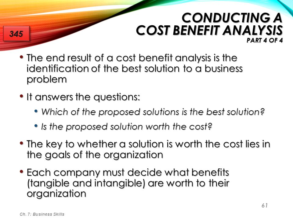 Conducting a Cost Benefit Analysis Part 4 of 4
