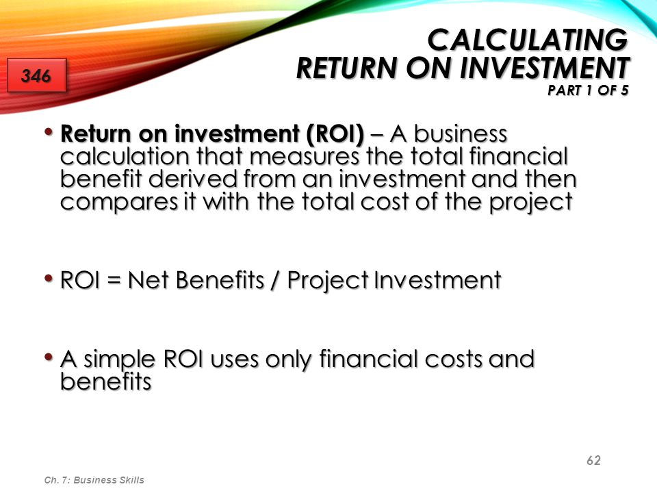 Calculating Return on Investment Part 1 of 5